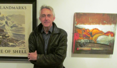 Artist Jeremy Gardiner with his work (right)