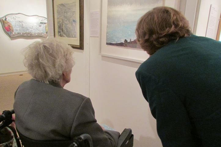 Chris and Francis looking at Kurt Jackson's Eighty Mile an Hour Gales